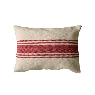 Red Striped Polyester 14 in. x 20 in. Throw Pillow