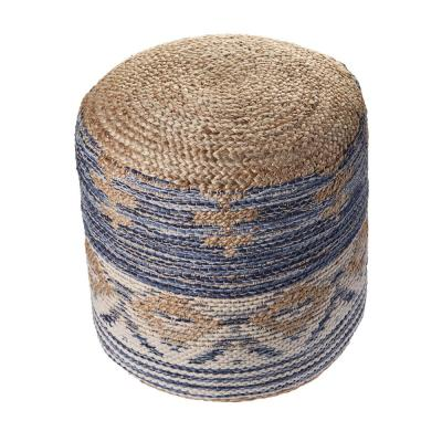 Natural Jute Navy  Gray Geometric Pouf