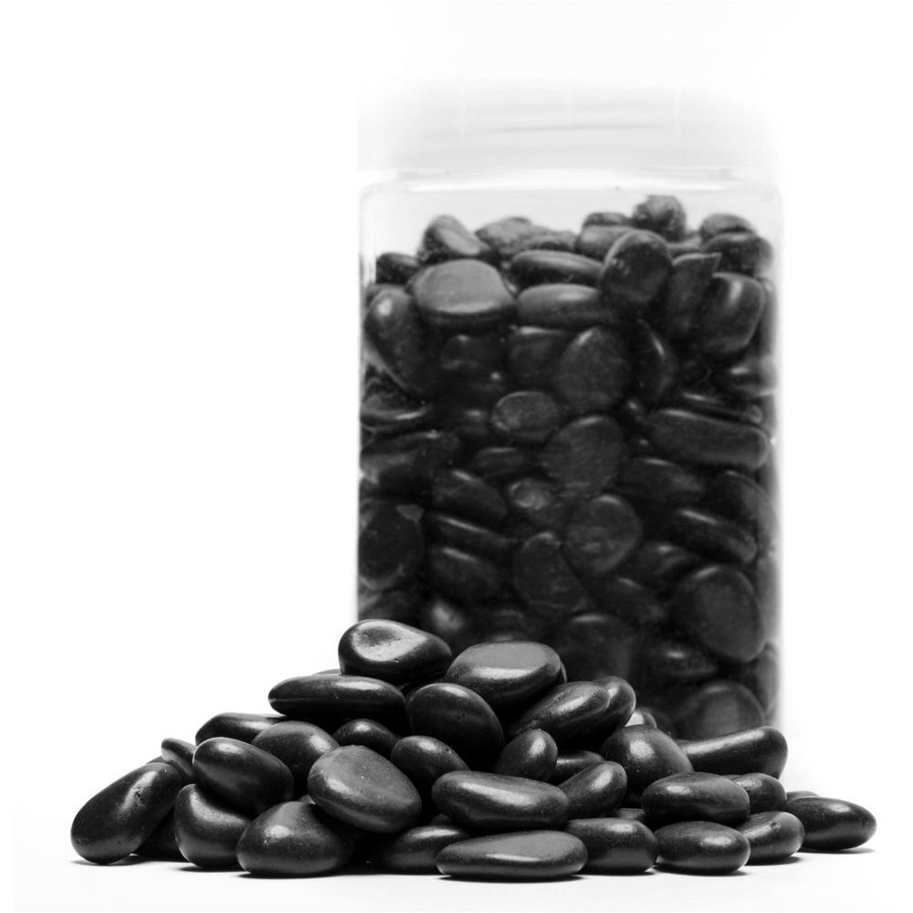 1 in. 5 lb. Jar Black Grade Polished Pebbles