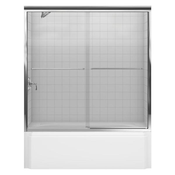 Fluence 59-5/8 in. x 58-5/16 in. Semi-Frameless Sliding Bathtub Door in Bright Polished Silver with Handle