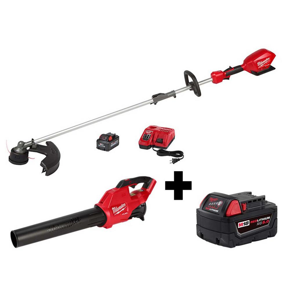 Milwaukee M18 FUEL QUIK-LOK 18-Volt Lithium-Ion Brushless Cordless String Trimmer Kit with M18 Blower and 5.0 Ah Battery