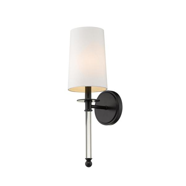 Filament Design 1 Light Matte Black Wall Sconce With White Fabric Shade Hd Te47124 The Home Depot