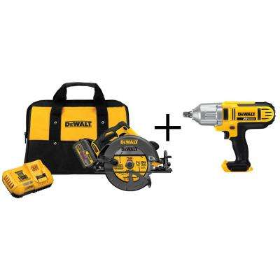 FLEXVOLT 60-Volt Lithium-Ion Cordless Brushless 7-1/4 in. Circular Saw Kit with Bonus 1/2 in. Drive Impact Wrench