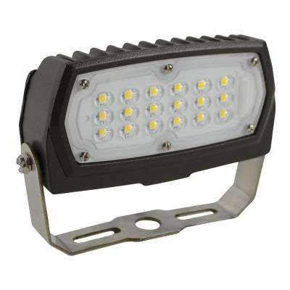 12-Watt Bronze Outdoor Integrated LED Small Landscape Flood Light 120-277V Yoke Mount Daylight 5000K 99876