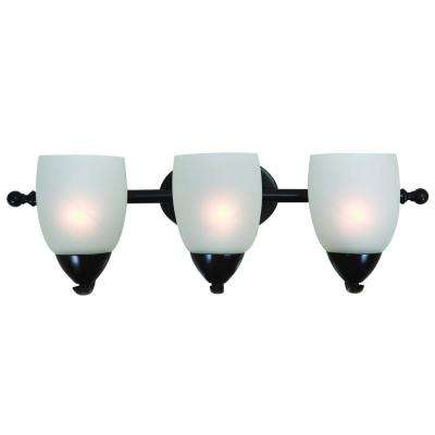 Mirror Lake 3-Light Oil Rubbed Bronze Bathroom Vanity Light with White Etched Glass Shade