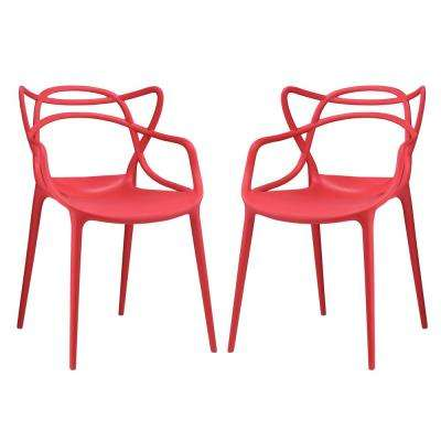 Red Entangled Dining Chairs (Set Of 2)