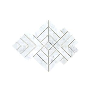 Wetherly White 9.5 in. x 9.5 in. Geometric Polished Marble Wall and Floor Mosaic Tile (0.568 sq. ft./Each)