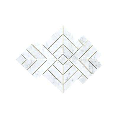 Wetherly White 9.25 in. x 9.25 in. x 8 mm Geometric Polished Marble Mosaic Tile