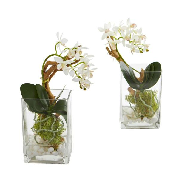 Nearly Natural Indoor Mini Phalaenopsis Orchid Artificial Arrangement (Set of 2)