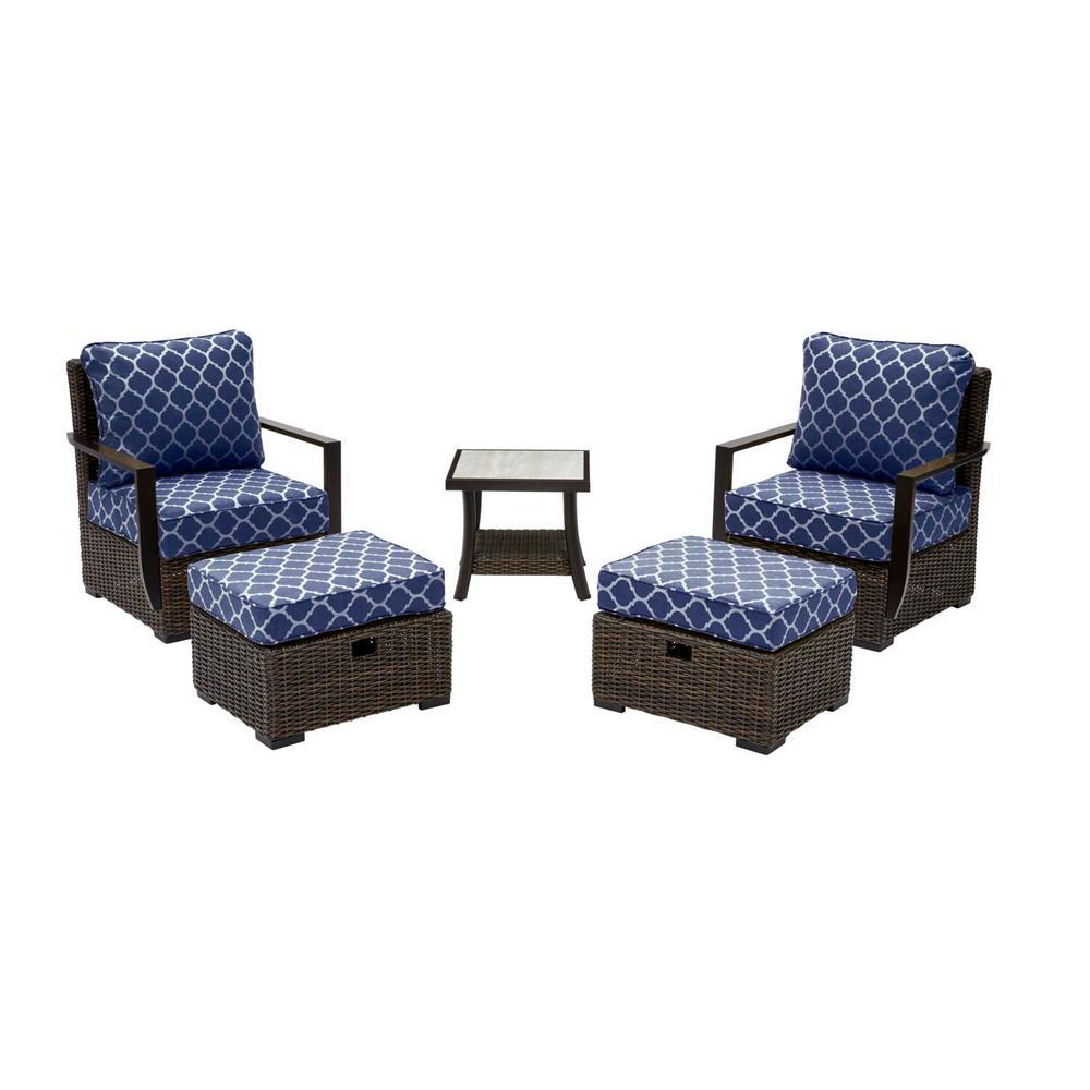 Whitfield 5-Piece Dark Brown Wicker Outdoor Patio Bistro Set w/ CushionGuard Midnight Trellis Navy Blue Cushions