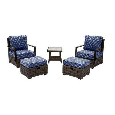 Whitfield 5-Piece Dark Brown Wicker Outdoor Patio Bistro Set w/ CushionGuard Midnight Trellis Navy Blue Cushions