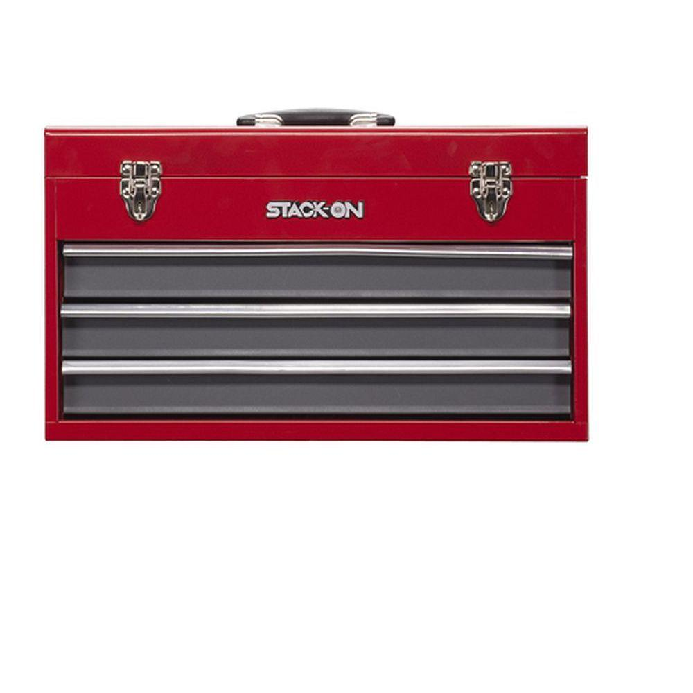 Stack-On 20 in. 3-Drawer Portable Tool Chest in Red