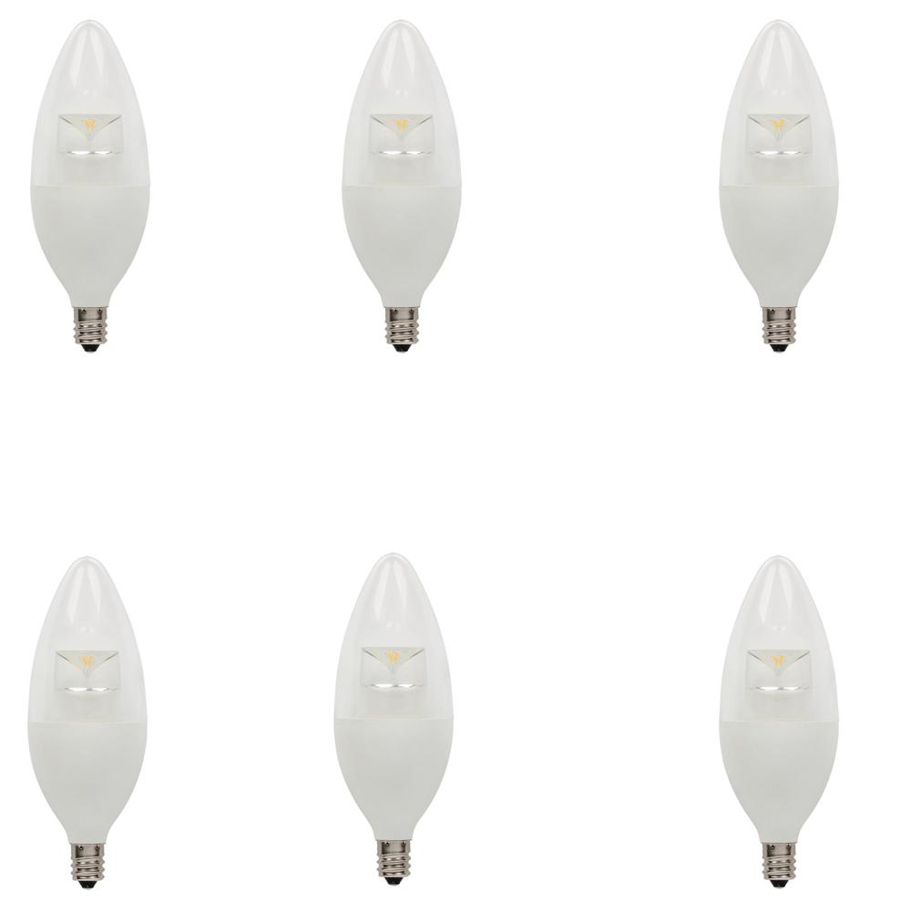 60W Equivalent Soft White B13 Dimmable LED Light Bulb (6-Pack)