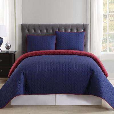 Everyday Navy and Burgundy Reversible King Quilt Set