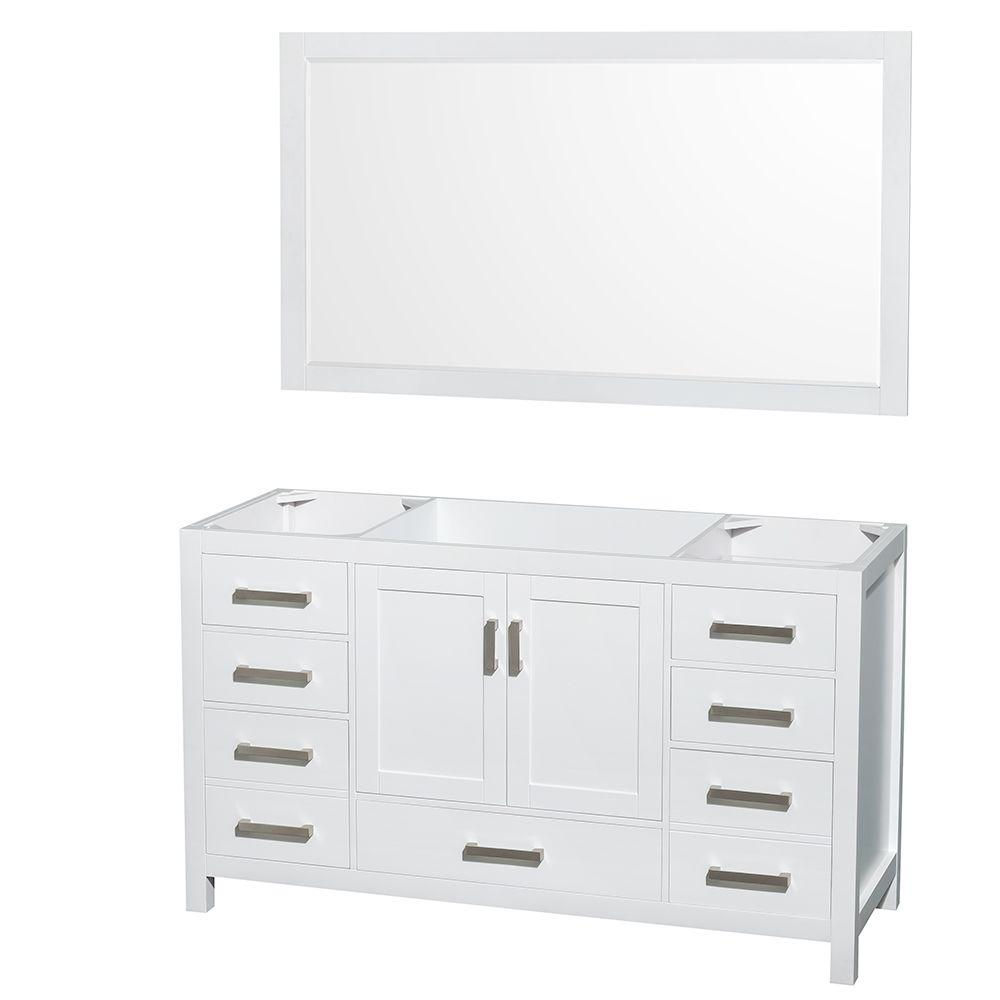 Wyndham Collection Sheffield 59 In Vanity Cabinet With 58 Mirror White
