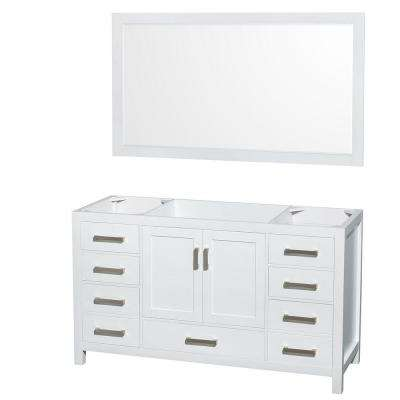 Sheffield 59 in. Vanity Cabinet with 58 in. Mirror in White