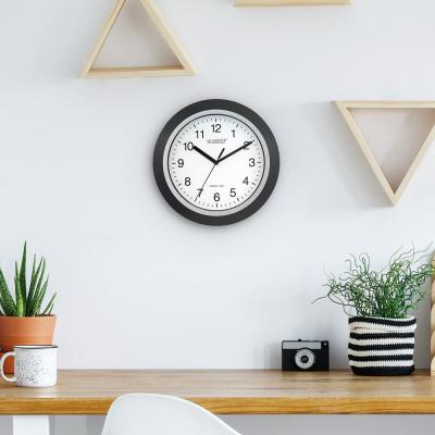 10 in. H Round Atomic Analog Wall Clock in Black