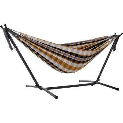 9 ft. Portable Cotton Hammock with Stand in Gold Coast