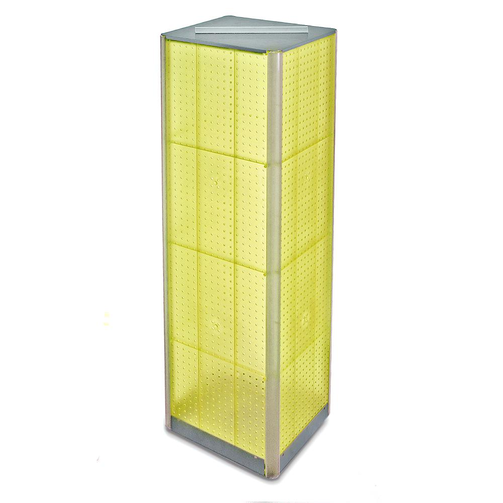 Azar Displays 60 in. H x 16 in. W Pegboard Tower in Yellow Styrene