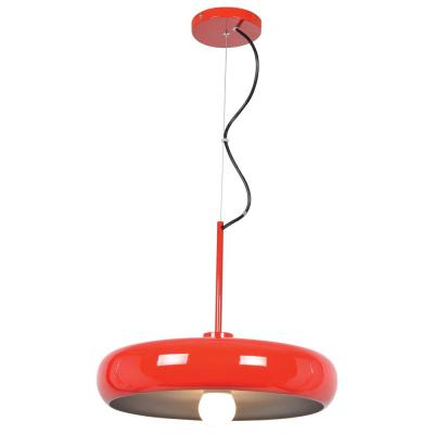 Bistro 12.75 in. H LED 1-Light Red and Silver Round Colored Pendant with Red and Silver Shade