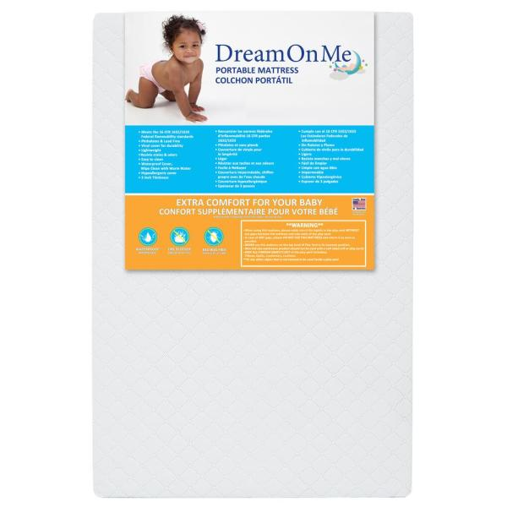 Dream On Me 3 Mini//Portable Crib Mattress White