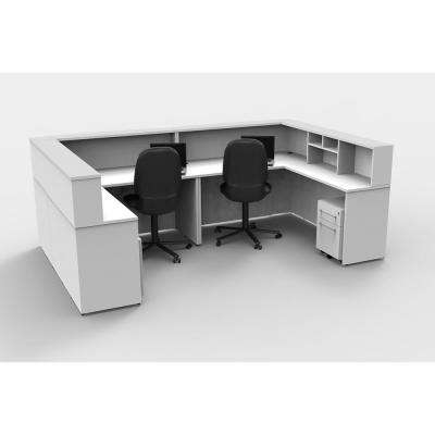 10-Piece White Office Reception Desk Collaboration Center