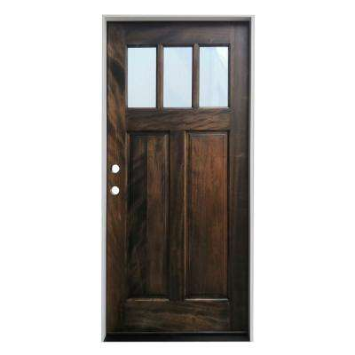 36 in. x 80 in. Espresso Right-Hand Inswing 3-Lite Clear Glass Prefinished Mahogany Prehung Entry Door w/ 6-9/16in. Jamb
