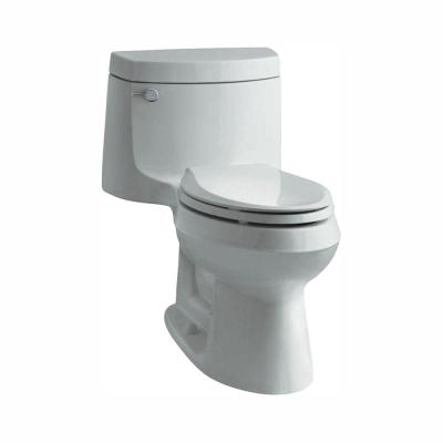 Cimarron 1-piece 1.28 GPF Single Flush Elongated Toilet with AquaPiston Flush Technology in Ice Grey, Seat Included