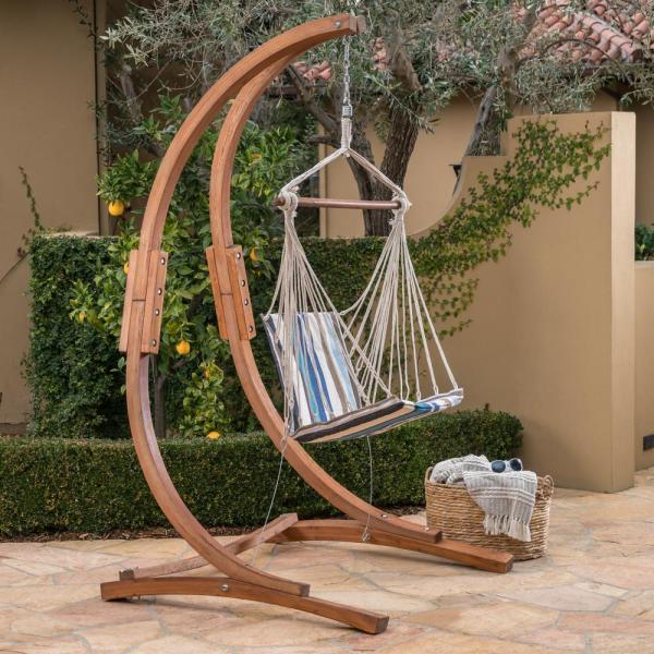 Noble House Griffith 47 25 In Quilted Hammock Chair With Stand In