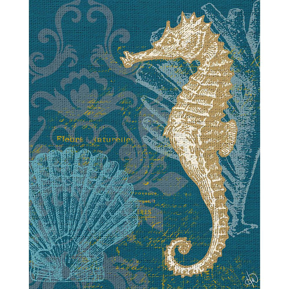 11 in. x 14 in. Damask Seahorse Teal Wrapped Canvas Wall