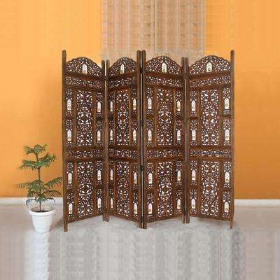 Handcrafted Wooden Antiqued Brown 4-Panel Room Divider Screen with Tiny Bells - Reversible