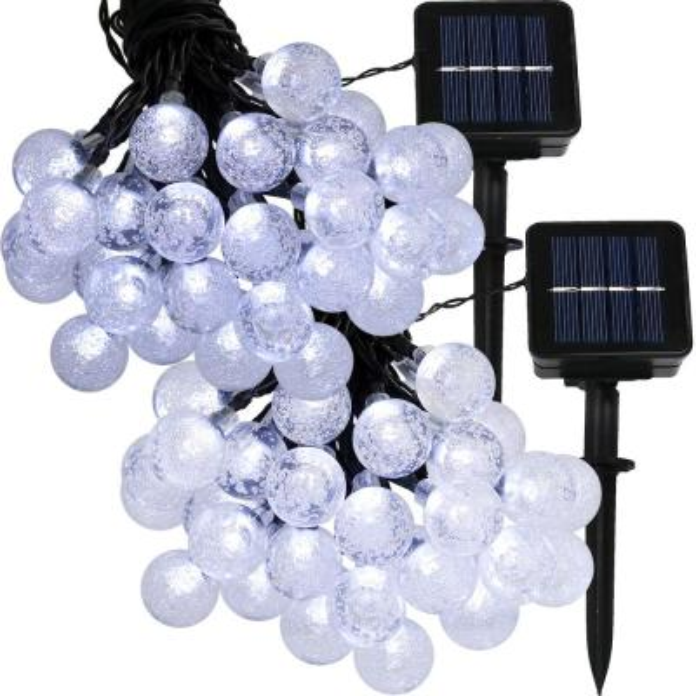 30-Light Outdoor 20 ft. Solar Globe LED String Light Set in White (2-Pack)