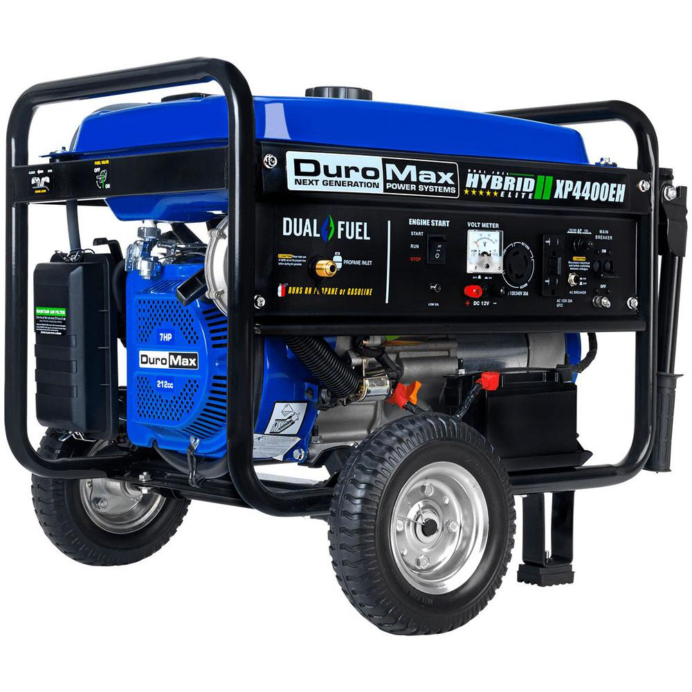 DUROMAX 3500-Watt Electric Start Dual Fuel Powered Portable Generator with Wheel Kit