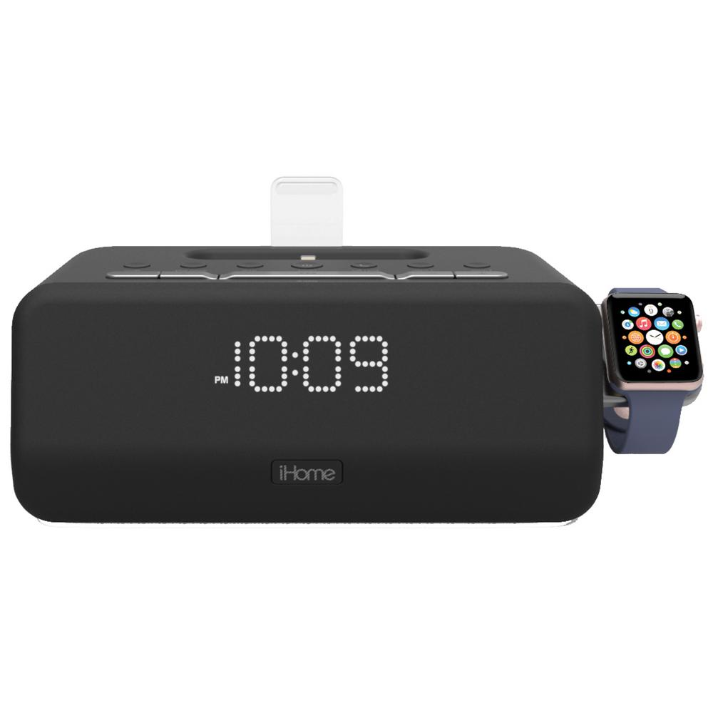 iHome Lightning Bluetooth FM Stereo Dual Alarm Clock Radio with  Speakerphone, Apple Watch Charger and 1 Amp USB Charging