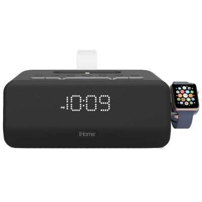 Lightning Bluetooth FM Stereo Dual Alarm Clock Radio with Speakerphone, Apple Watch Charger and 1 Amp USB Charging