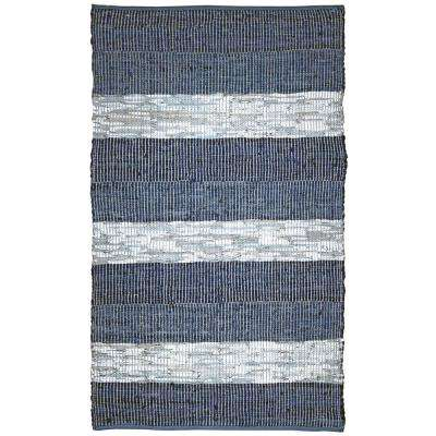 Blue Striped Leather 21 in. x 34 in. Accent Rug