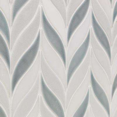 Oracle Sprig Arctic Blue 9-7/8 in. x 11-3/4 in. x 10mm Glazed Ceramic Mosaic Tile