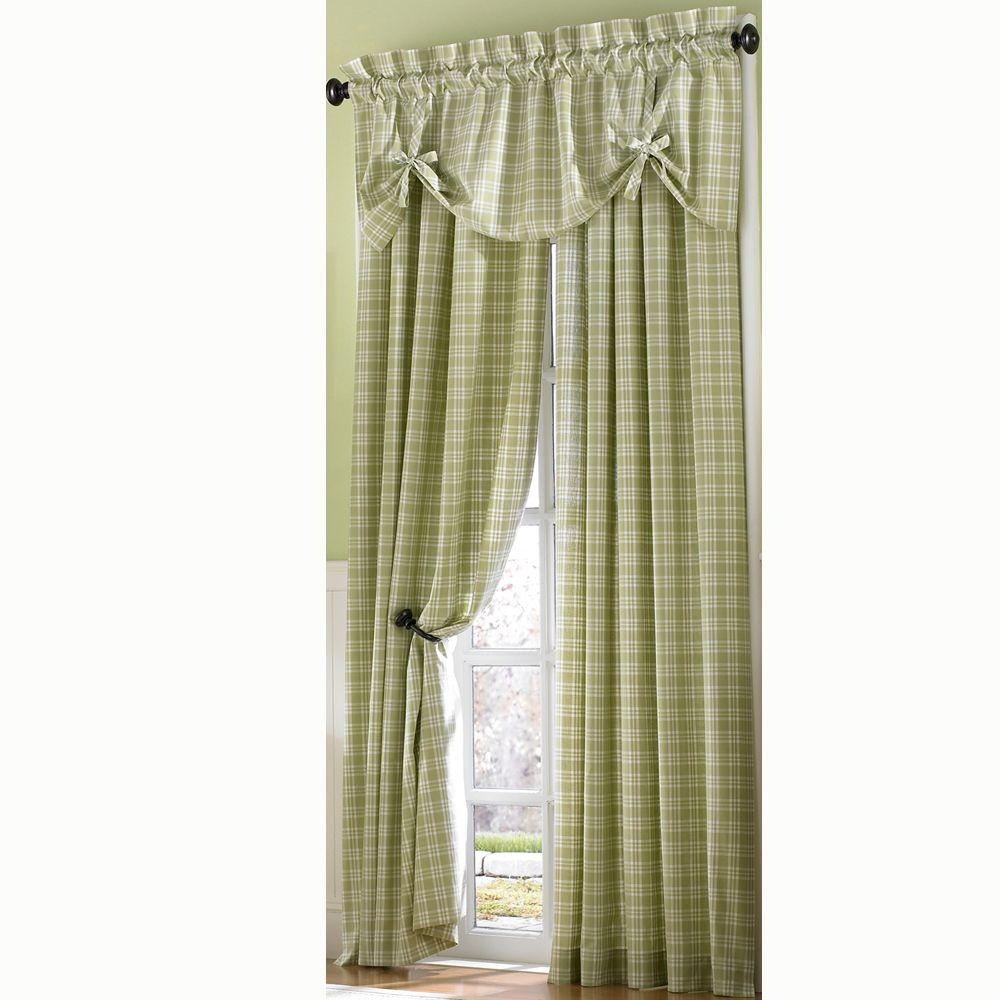 Curtainworks Semi-Opaque SageCountry Plaid Cotton Panel- 50 in. W x 120 in. L