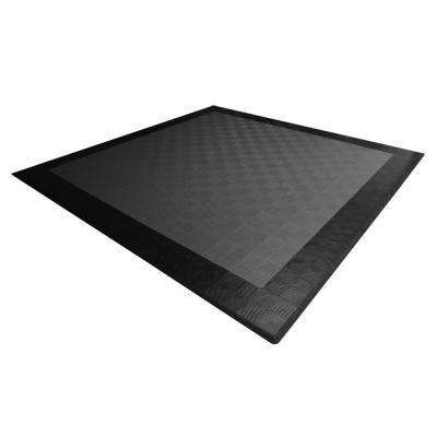 17.5 ft. x 17.5 ft. Grey with Black Border Ribtrax Smooth Eco Flooring, Double Car Pad Kit