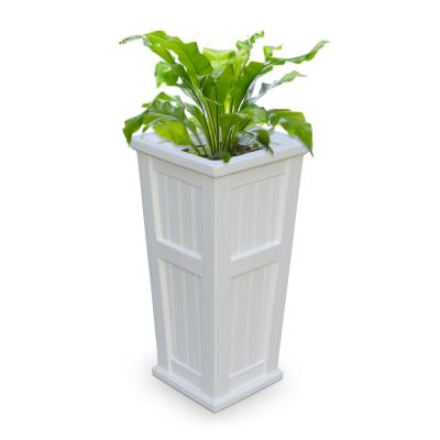 Self-Watering Cape Cod 15-1/2 in. Square White Plastic Column Planter