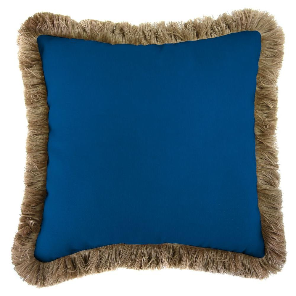 Jordan Manufacturing Sunbrella Canvas Navy Square Outdoor Throw Pillow with  Black Fringe