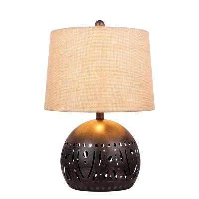 21 in. Brown Rustic Cut Metal Table Lamp with a Base Nightlight Feature