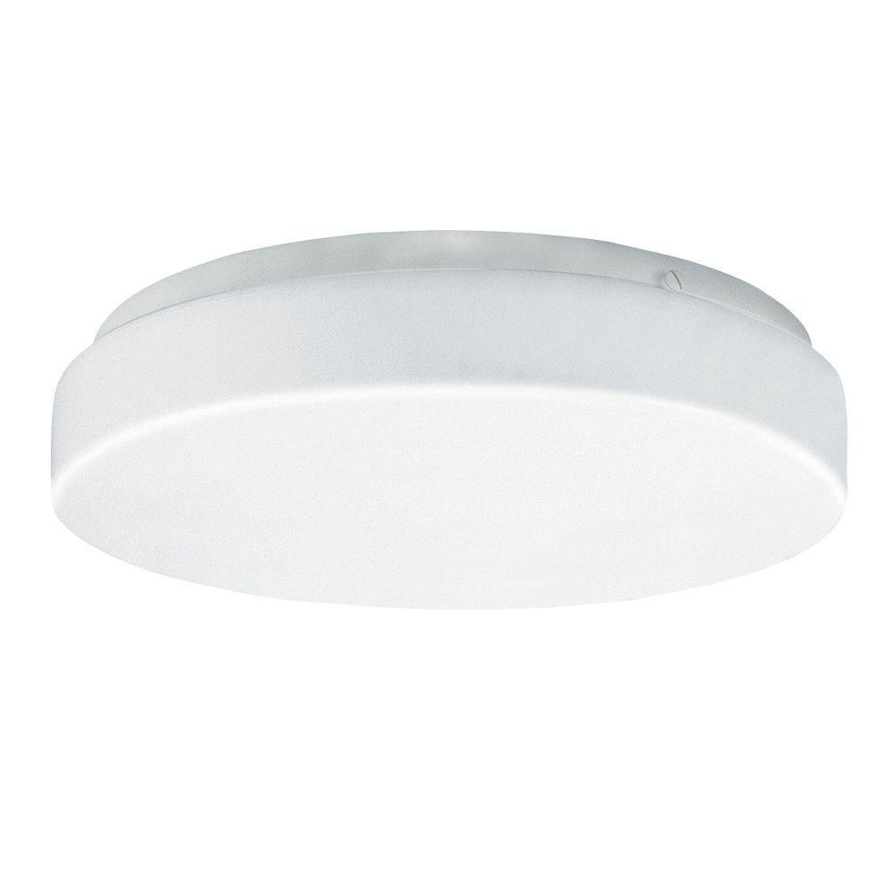 1-Light White LED Flushmount with Drum Light