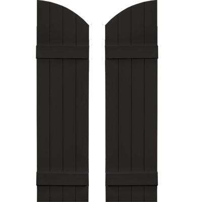 14 in. x 49 in. Board-N-Batten Shutters Pair, 4 Boards Joined with Arch Top #002 Black