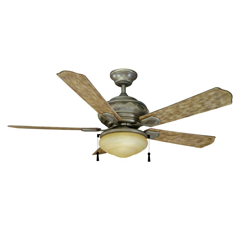 Hampton Bay Portsmouth 52 in. Indoor/Outdoor Cambridge Silver Ceiling Fan with Light Kit