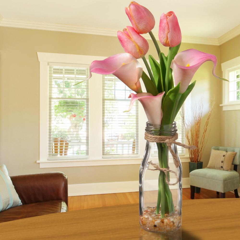 Pink Tulip Arrangement in Glass Vase