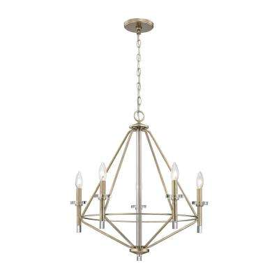 Lacombe 5-Light Aged Silver with Clear Glass Accents Chandelier