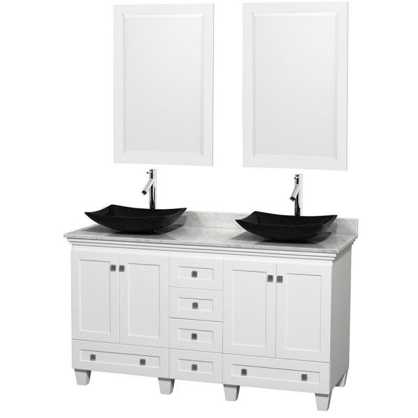 Acclaim 60 in. W Double Vanity in White with Marble Vanity Top in Carrara White, Black Sinks and 2 Mirrors