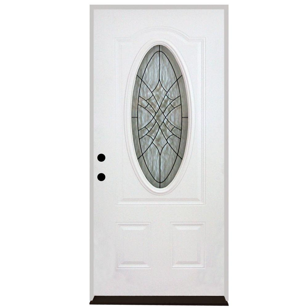 Steves sons 32 in x 80 in webville oval lite 2 panel - 30 x 80 exterior door with pet door ...