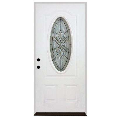 32 in. x 80 in. Webville Oval Lite 2-Panel Primed White Steel Prehung Front Door